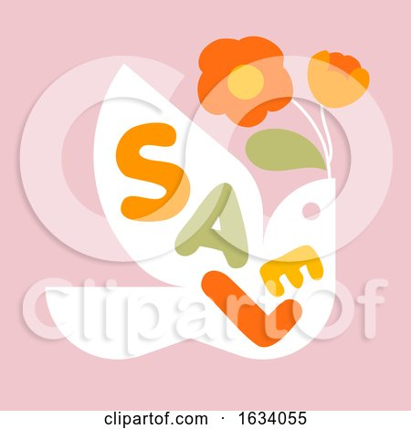 Sale Banner Template Design with Multicolored Letters and Flying Bird with Flowers by elena