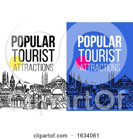 Vertical Banner with Seamless Cityscape of Worlds Most Popular Tourist Attractions. Modern Flat Line Vector Illustration for Traveling, Vacation, Tourism and Journey Concept by elena