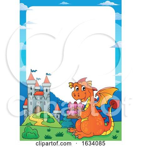 Dragon Holding a Birthday Cake Border Posters, Art Prints