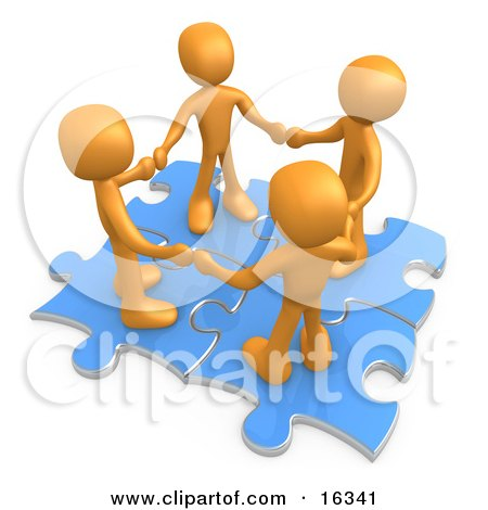 Four Orange People Holding Hands While Standing On Connected Blue Puzzle Pieces, Symbolizing Teamwork, And Interlinking For Seo Website Marketing  Posters, Art Prints