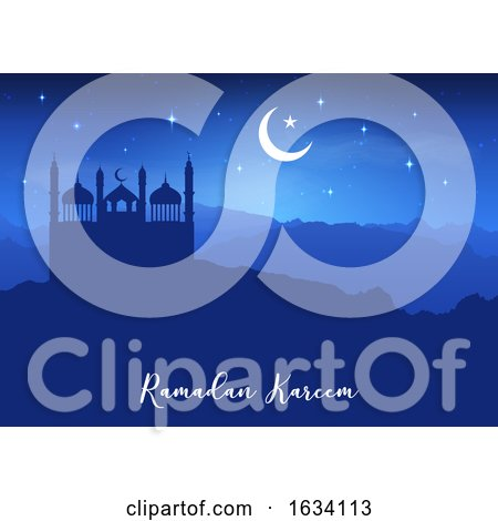 Ramadan Kareem Background with Mosque Silhouettes Against Night Sky by KJ Pargeter