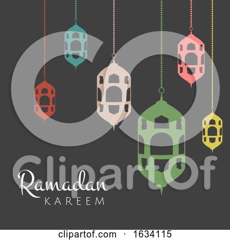 Ramadan Kareem Background with Hanging Lanterns by KJ Pargeter