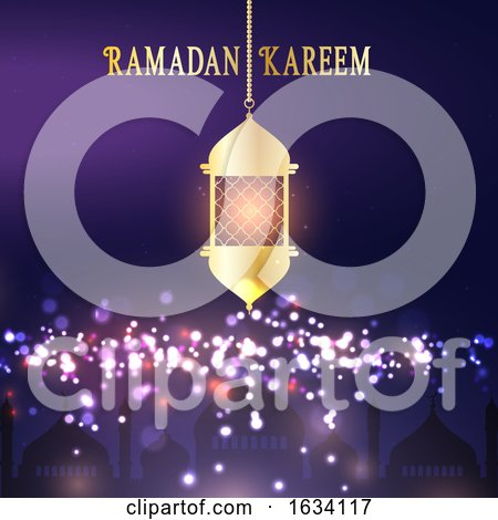 Ramadan Kareem Background with Hanging Lantern by KJ Pargeter