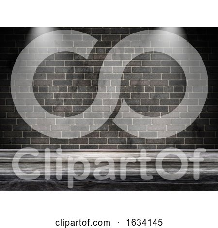 3D Old Wooden Table Against a Brick Wall with Spotlights by KJ Pargeter