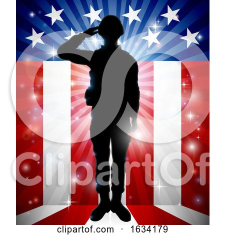 Soldier Saluting American Flag Background by AtStockIllustration