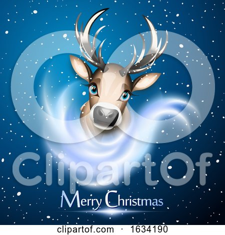 Cute Reindeer over Snow and Bue Background with Merry Christmas Greeting by Oligo
