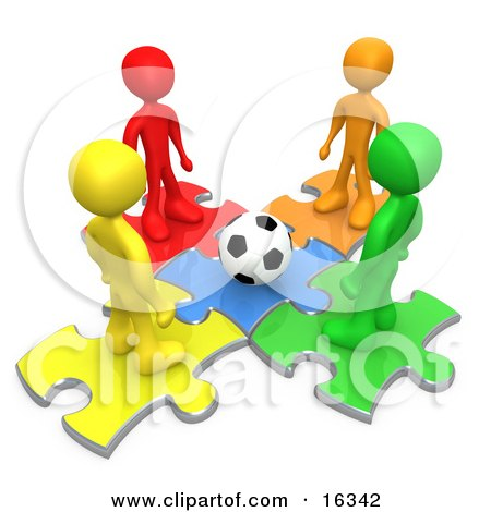 Group Of Diverse Diffferent Colored People Standing On Puzzle Pieces And Looking Down At A Soccer Ball Clipart Illustration Graphic by 3poD
