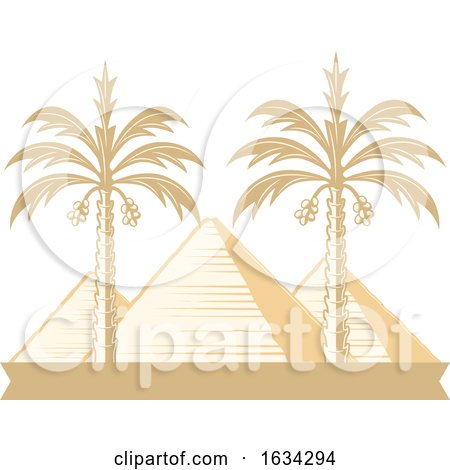 Egyptian Pyramids and Palm Trees by Vector Tradition SM