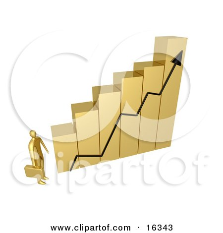Gold Businessman Carrying A Briefcase And Staring Up At A Big Golden Bar Graph Chart, Symbolizing Intimidation Or Desiring To Be Successful Clipart Illustration Graphic by 3poD