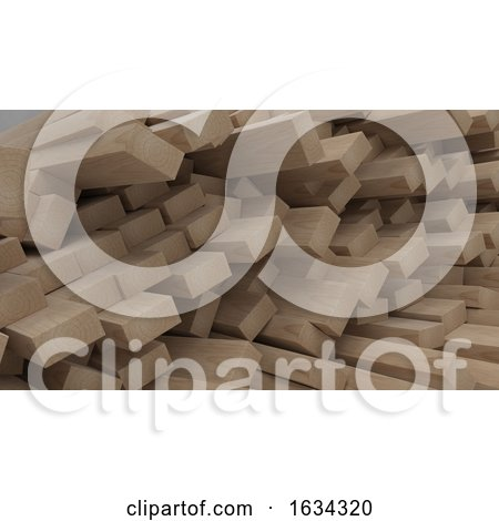 Render of 3D Construction Timber Beams and Planks by KJ Pargeter