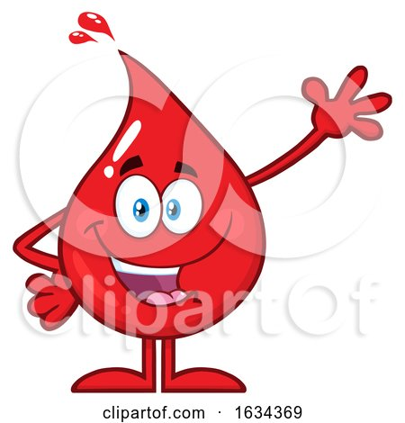 Blood or Hot Water Drop Mascot Waving by Hit Toon