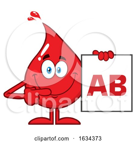 Blood Drop Mascot Holding a Type AB Sign by Hit Toon
