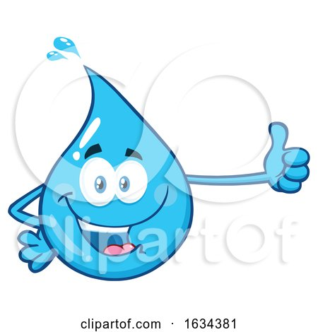 Water Drop Mascot Character Giving a Thumb up by Hit Toon