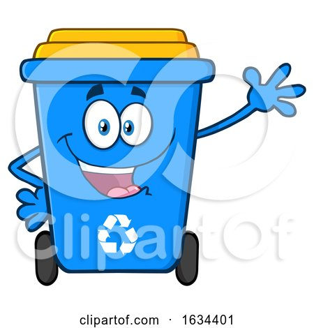 Blue Recycle Bin Mascot Character Waving by Hit Toon