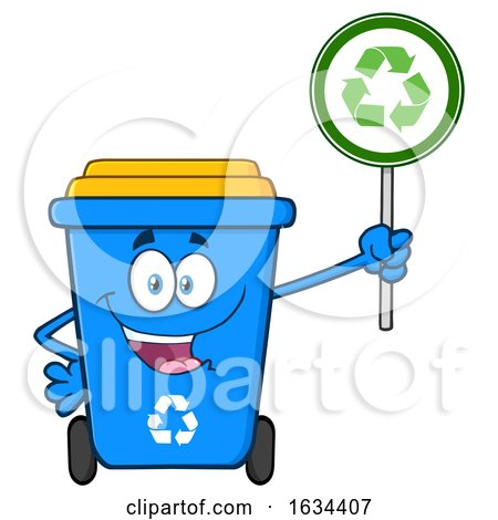 Blue Recycle Bin Mascot Character Holding an Arrow Sign by Hit Toon