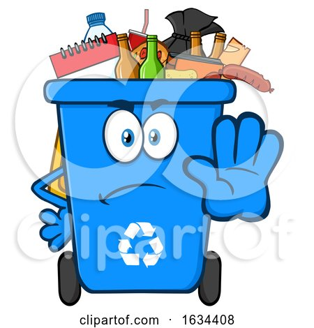 Blue Angry Recycle Bin Mascot Character Gesturing Stop by Hit Toon