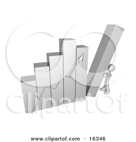 Silver Person Pushing Up The Last Column On A Bar Graph Chart, Symbolizing Effort And Success Clipart Illustration Graphic by 3poD