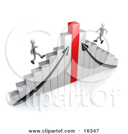 Two Competitive Businessmen Racing Up Different Sides Of A Chrome And Red Bar Graph Chart  Posters, Art Prints