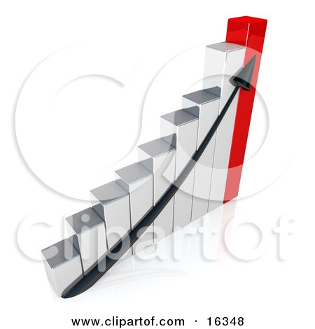 Black Arrow Going Up A Silver And Red Bar Graph Chart Depicting An Increase In Sales  Posters, Art Prints