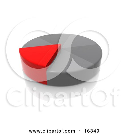 Red Slice Of A Grey Pie Growing Taller Than The Other Pieces Clipart Illustration Graphic by 3poD