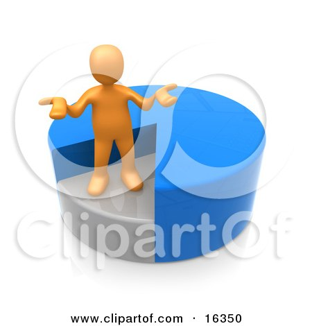 Orange Man Shrugging And Standing In A Sinking Spot Of A Blue Pie Chart  Posters, Art Prints