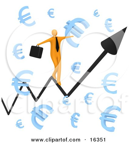 Happy Orange Businessman Carrying A Briefcase And Balancing On An Increasing Black Arrow Of A Graph Through Floating Blue Euro Symbols  Posters, Art Prints