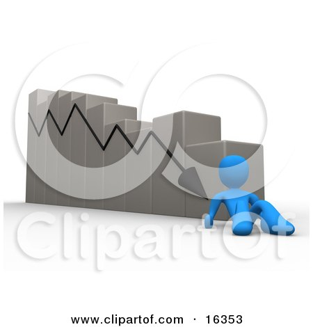 Depressed Blue Person Lying At The Bottom Of A Declining Bar Graph Chart, Symbolizing Failure, Mistakes And Bankruptcy  Posters, Art Prints