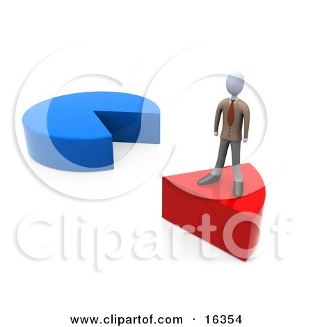 Businessman Standing On A Red Slice Of A Pie Chart  Posters, Art Prints
