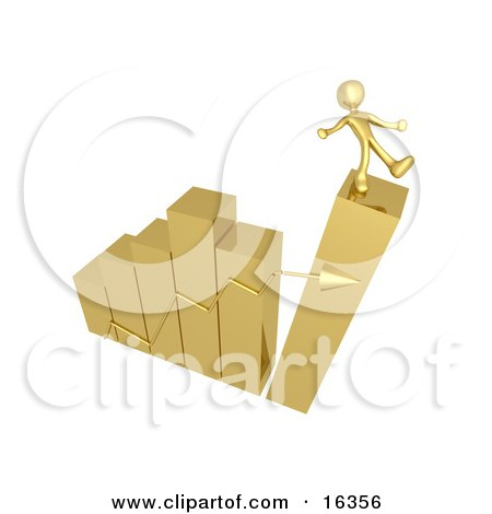 Gold Person Slipping And About To Fall While Standing On Top Of A Bar Graph Chart That Is Collapsing, Symbolizing Bankruptcy And Failure  Posters, Art Prints
