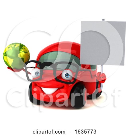 3d Little Red Car Mechanic, on a White Background by Julos
