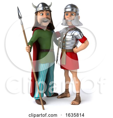 3d Gaul Warrior and Roman Legionary Soldier, on a White Background Posters, Art Prints