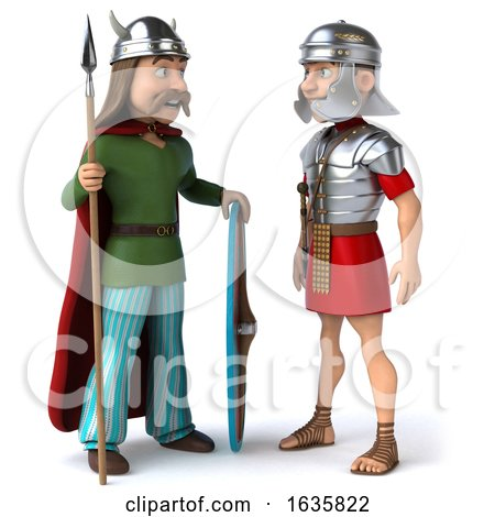 3d Gaul Warrior and Roman Legionary Soldier, on a White Background by Julos