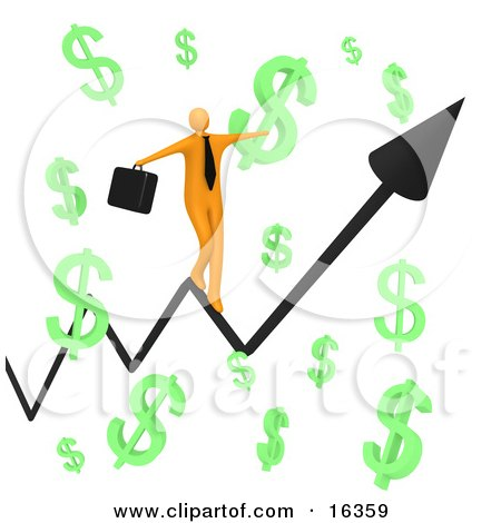 Happy Orange Businessman Carrying A Briefcase And Balancing On An Increasing Black Arrow Of A Graph Through Floating Green Dollar Symbols  Posters, Art Prints