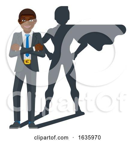 Business Person Super Hero Cartoon Mascot by AtStockIllustration