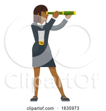 Telescope Spyglass Woman Business Concept by AtStockIllustration