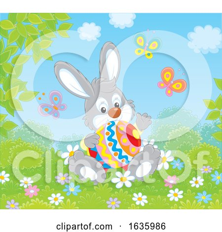 Bunny Rabbit Sitting with an Easter Egg by Alex Bannykh