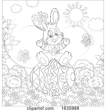 Black and White Bunny Rabbit on a Giant Easter Egg Posters, Art Prints