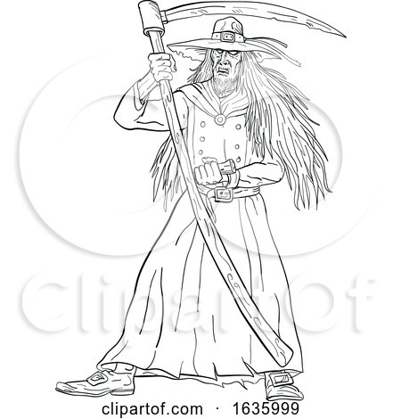 Ankou Graveyard Watcher with Scythe Drawing Black and White by patrimonio
