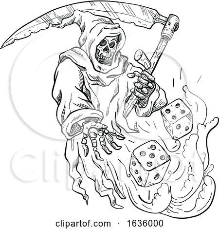 Grim Reaper Rolling Dice Black and White by patrimonio