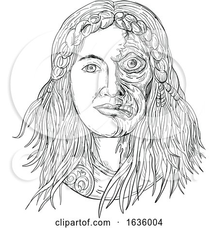 Norse Goddess Hel Face Front Drawing Black and White by patrimonio