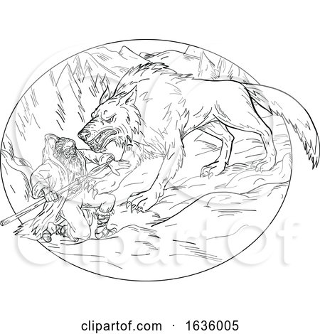 Fenrir Attacking Norse God Odin Drawing Black and White by patrimonio