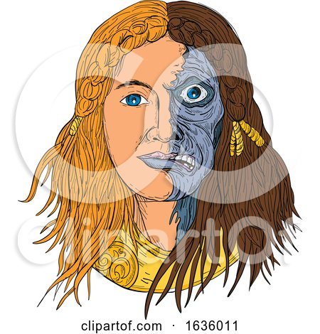Hel Norse Goddess Face Front Drawing Color by patrimonio