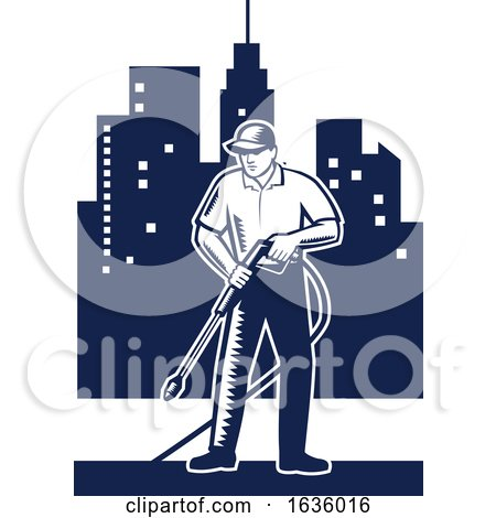 Retro Woodcut Pressure Washer Worker in a City by patrimonio