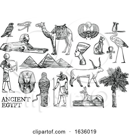 Black and White Sketched Ancient Egyptian Icons by Vector Tradition SM