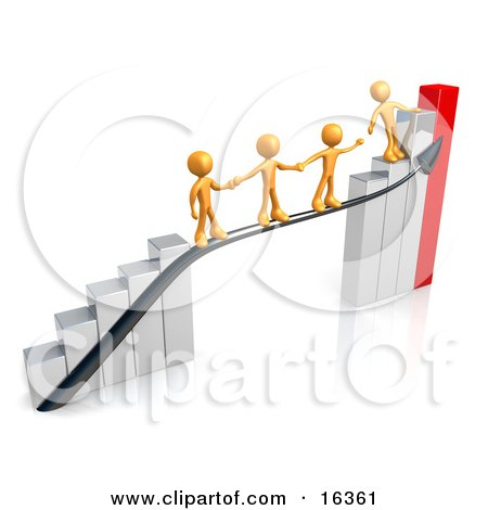 Orange Person Standing On A Silver And Red Bar Graph Chart Reaching Back To Assist Others Up To The Top Clipart Illustration Graphic