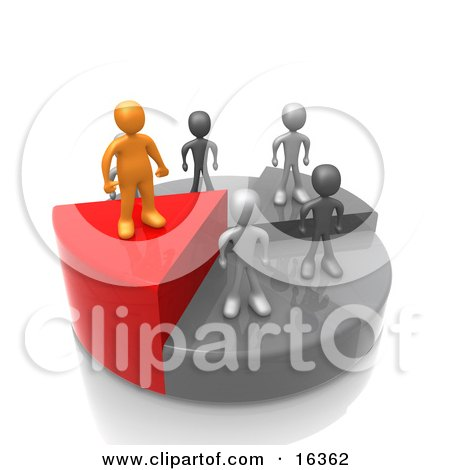 Successful Orange Person Standing On A High Slice Of A Pie Chart While Other Grey People And Slices Stand Below Clipart Illustration Graphic by 3poD
