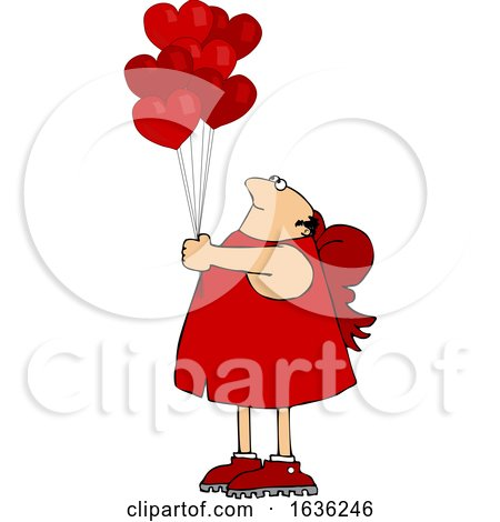 Cartoon Chubby Cupid with Valentines Day Heart Balloons by djart