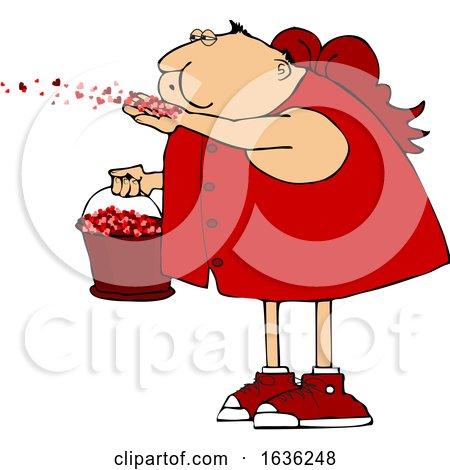 Cartoon Chubby Cupid Blowing Valentines Day Heart Confetti by djart