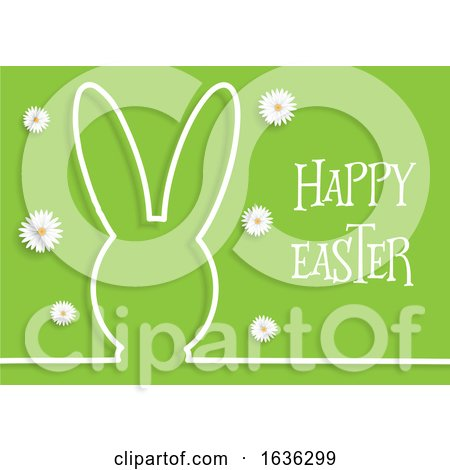Easter Background with Bunny Outline and Daisies Posters, Art Prints
