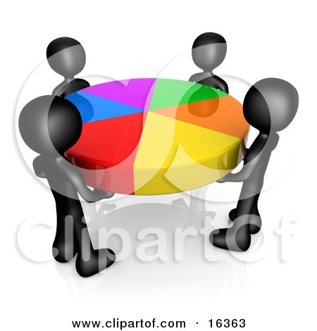 Group Of Four Black People Holding A Colorful Pie Chart Clipart Illustration Graphic by 3poD